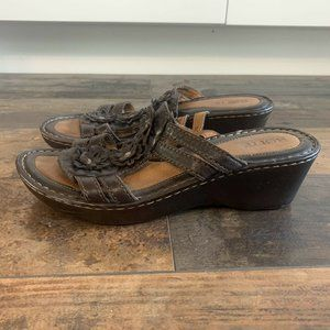 Born Brown Leather Flower Wedge Sandals